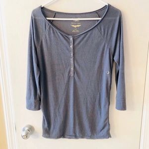 NWT American Eagle 3/4 Sleeves Gray Henley Sz S